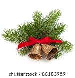 Christmas decoration with bells  isolated on white background - stock photo