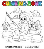 coloring book fishing penguin   ... | Shutterstock .eps vector #86189983