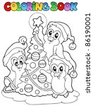 coloring book penguins and tree ... | Shutterstock .eps vector #86190001