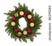 christmas wreath of pine fir... | Shutterstock . vector #86190364