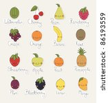 fruit stickers | Shutterstock .eps vector #86193559