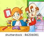 skilled barber | Shutterstock .eps vector #86206081