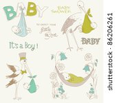 vintage baby boy shower and... | Shutterstock .eps vector #86206261