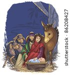 Christmas nativity scene with Holy Family. Bible story of the birth of Jesus. Funny vector art illustration for a children book or greeting card