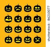 set of 16 halloween pumpkins ... | Shutterstock .eps vector #86210077