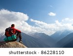 climbing young adult at the top ... | Shutterstock . vector #86228110