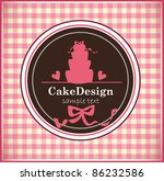 card with sweet wedding cake | Shutterstock .eps vector #86232586