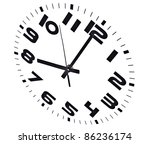 Clock isolated on white marking the eight o'clock hour.