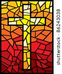 Vector Cross In Stained Glass...