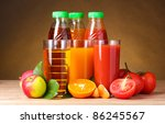 different juices and fruits on... | Shutterstock . vector #86245567