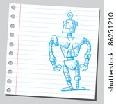 sketch of a funny robot | Shutterstock .eps vector #86251210