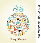 retro christmas background with ... | Shutterstock .eps vector #86265163