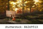 Violin in autumnal park - stock photo