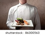 a chief dressed in white... | Shutterstock . vector #86300563