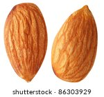 two almond nuts isolated on a... | Shutterstock . vector #86303929