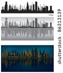Chicago Skyline With Reflectio...