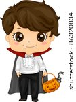 Illustration of a Kid Dressed as a Vampire - stock vector
