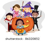 illustration of kids dressed in ... | Shutterstock .eps vector #86320852