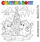 coloring book two seals with... | Shutterstock .eps vector #86321176