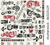 doodle french calendar | Shutterstock .eps vector #86323129