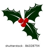 Holly berry icon vector illustration. Symbol of Christmas - stock vector