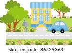parked car near the entrance to ... | Shutterstock .eps vector #86329363