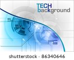 tech background in the blue - stock vector