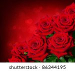 Stock photo beautiful bouquet of red roses with copy space 86344195