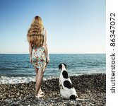 Beautiful Woman With A Dog On...