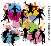 black children silhouettes on... | Shutterstock .eps vector #86354536
