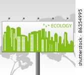 Green Eco city ecology vector background concept on billboard banner - stock vector