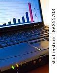 ascending chart on a laptop... | Shutterstock . vector #86355703