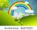 the grass with a blue sky and... | Shutterstock . vector #86373223