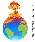 A mushroom cloud explosion on the world globe. Concept global disaster, catastrophe, end of the world etc. - stock vector