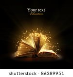 book. opened magic book with... | Shutterstock . vector #86389951