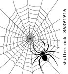 black spider and web | Shutterstock .eps vector #86391916