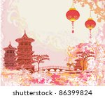 old paper with asian landscape... | Shutterstock .eps vector #86399824