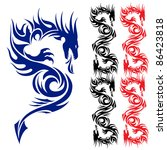 Asian pattern tattoo. Dragon. Illustration on white background. - stock vector
