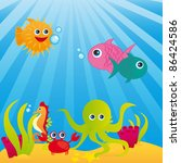aquarium with animals of sea...   Shutterstock .eps vector #86424586