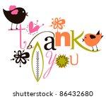cute thank you script card | Shutterstock .eps vector #86432680