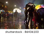 man standing alone in a crowd... | Shutterstock . vector #86436103
