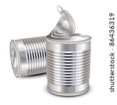 opened and closed food tin cans | Shutterstock .eps vector #86436319