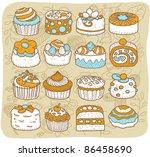mocha series     cake  snack ... | Shutterstock .eps vector #86458690