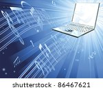 Blue laptop computer music background with musical notes streaming out of laptop - stock photo