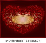red heart in roses with golden... | Shutterstock .eps vector #86486674