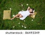 little girl resting on soft... | Shutterstock . vector #86493349