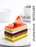 Colorful Fruit Cake Isolated I...