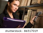 business woman stock counting... | Shutterstock . vector #86517019