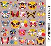 butterflies pattern   Shutterstock .eps vector #86517175