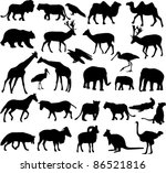 Stock vector animals silhouettes collection 86521816